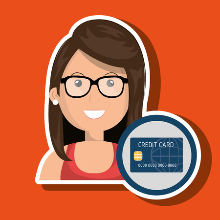 woman credit card: woman credit card money vector illustration graphic Illustration