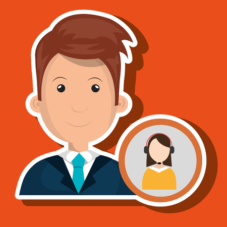 concentrating: man call center attention vector illustration graphic