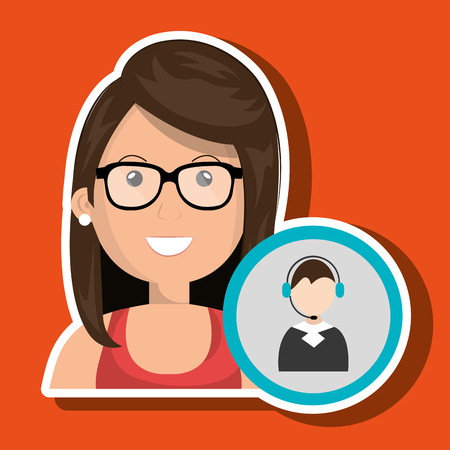 concentrate: woman call center attention vector illustration graphic Illustration
