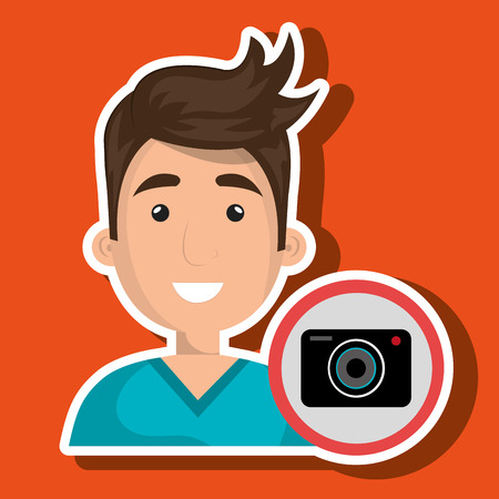 photo tools: man camera photography icon vector illustration Illustration
