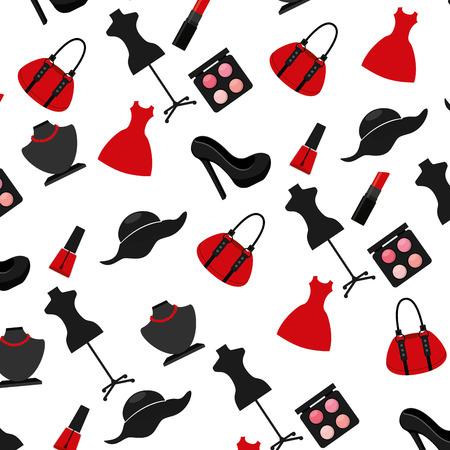 accesorios de moda femeninos aislados ilustración vectorial de diseño