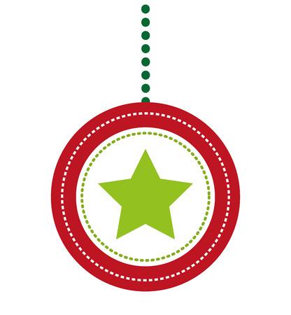 kerstballen decoratie geïsoleerd vectorillustratieontwerp Stock Illustratie