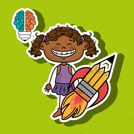curly tail: girl idea brain vector illustration graphic Illustration