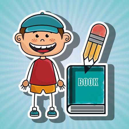 niño parado: eps gráficos muchacho del estudiante libro lápiz ilustración del vector 10