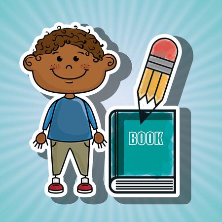 niño parado: niño lápiz libro del alumno