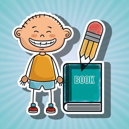 boy student book pencil Illustration