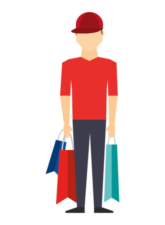 avatar person with shopping bags vector illustration design