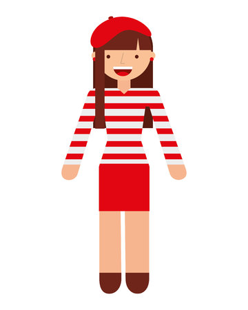 french culture: french woman character isolated icon vector illustration design Illustration
