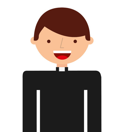 christian young: priest character isolated icon vector illustration design