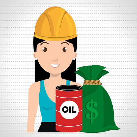 futures: woman barrel oil money vector illustration graphic