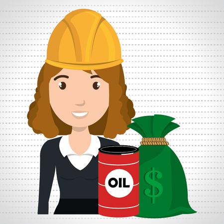 woman barrel oil money vector illustration graphic