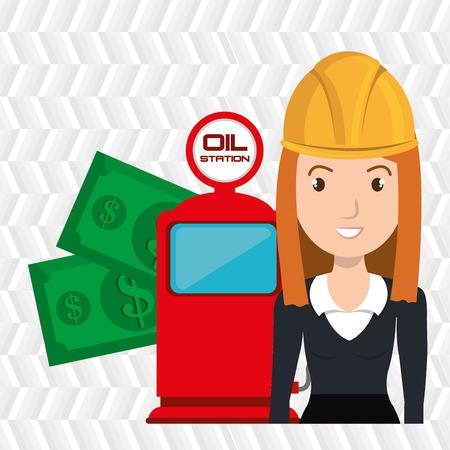 filling station: woman dispenser gasoline Illustration