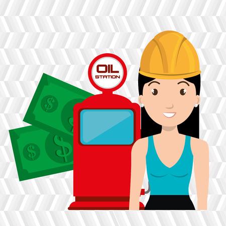 dispenser: woman dispenser gasoline Illustration