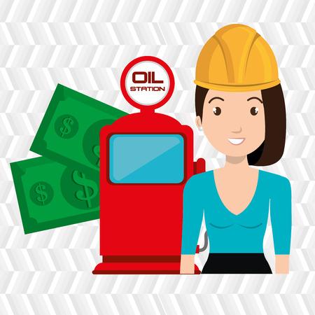 woman dispenser gasoline Vektoros illusztráció