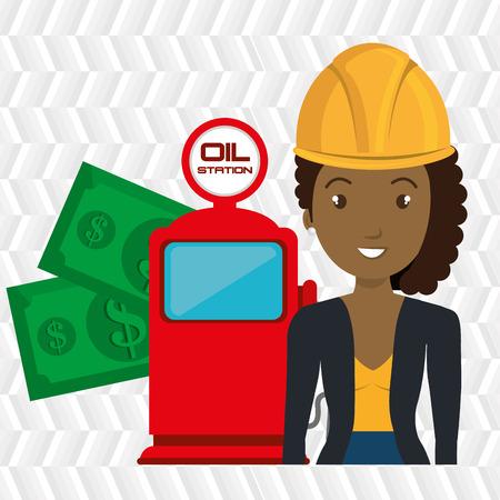 woman dispenser gasoline Illustration