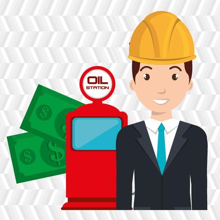 filling station: man dispenser gasoline
