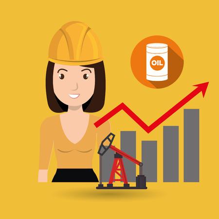 woman oil drill platform Illustration
