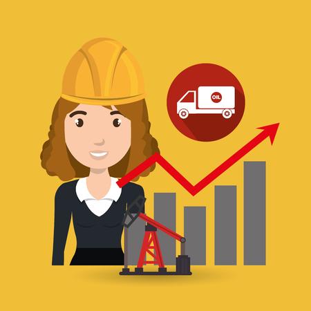 tough woman: woman oil drill platform vector illustration graphic