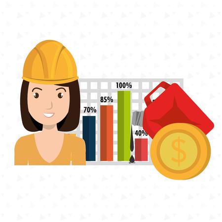 girl short hair: woman economy money vector illustration graphic Illustration