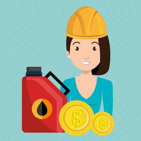 tied girl: woman gasoline station vector illustration graphic Illustration