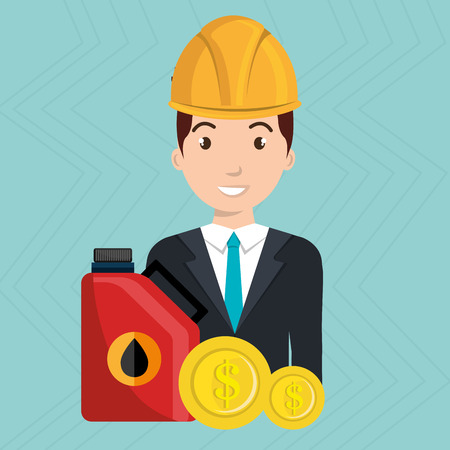 stockpile: man gasoline station vector illustration graphic Illustration