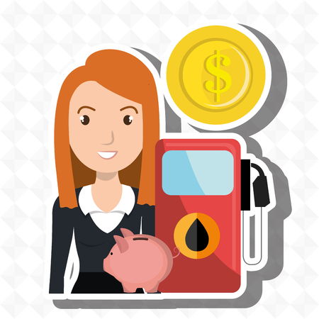 filling station: woman gasoline station vector illustration graphic Illustration