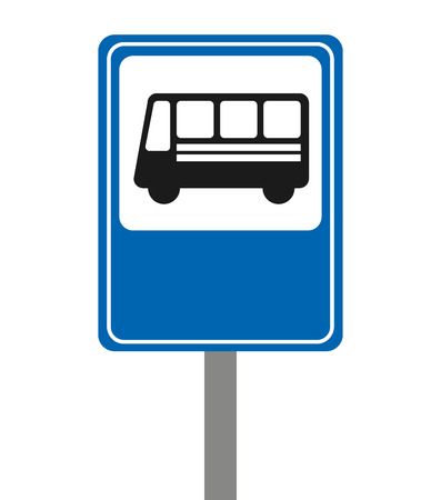 motorized: bus stop signal isolated icon vector illustration design Illustration