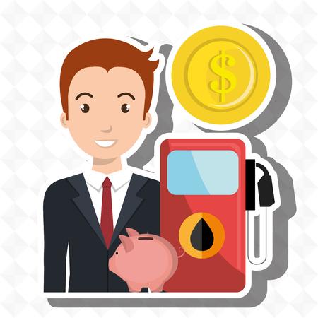 man gasoline station vector illustration graphic Illustration