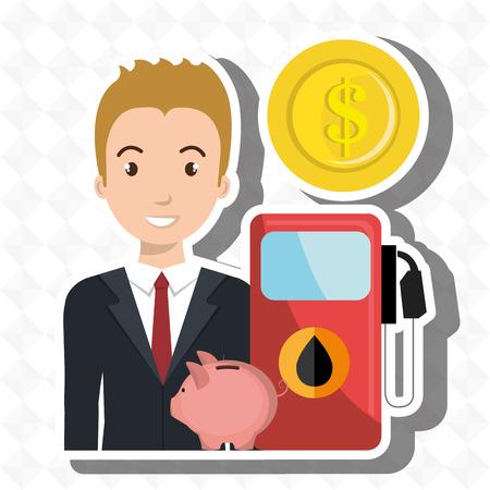 man gasoline station Illustration