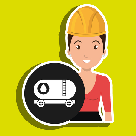 bun: woman gallon gasoline icon vector illustration graphic Illustration
