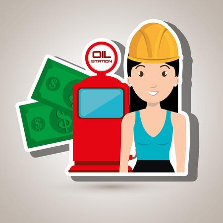 woman dispenser gasoline vector illustration graphic Vektoros illusztráció