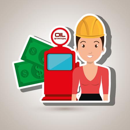 woman dispenser gasoline vector illustration graphic Illustration