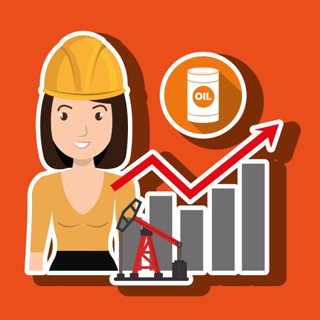 woman oil drill platform vector illustration graphic