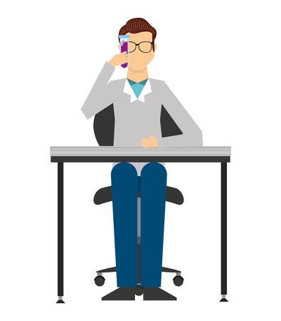 study icon: professional scientific man job isolated icon vector illustration design