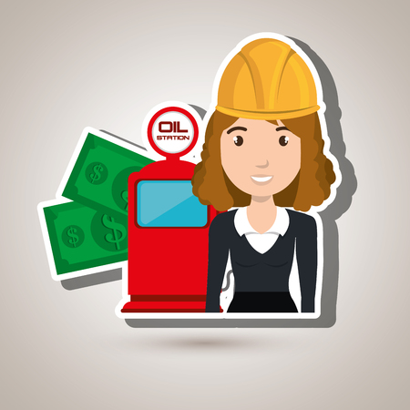 car bills: woman dispenser gasoline vector illustration graphic Illustration