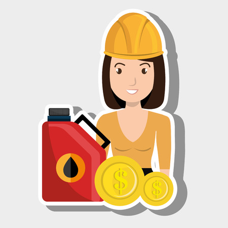 woman gasoline station vector illustration graphic