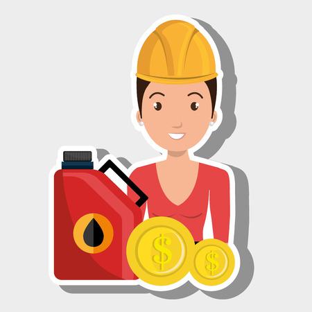woman gasoline station vector illustration graphic Illustration