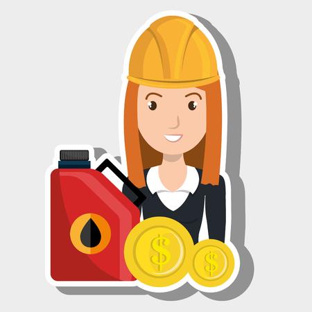 stockpile: woman gasoline station vector illustration graphic Illustration
