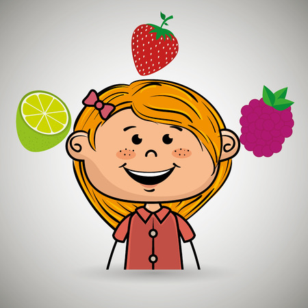 girl fruit food healthy vector illustration graphic Illustration