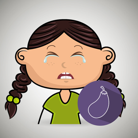 sad little girl: girl vegetable cry vector illustration graphic