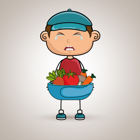 boy cry plate vegetables vector illustration graphic