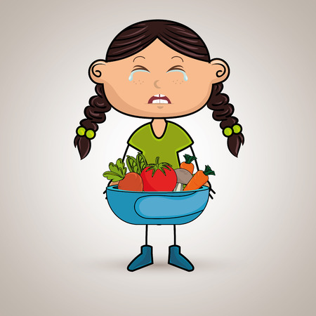girl cry plate vegetables vector illustration graphic Illustration