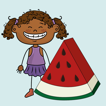 curly tail: kid girl watermelon fruit vector illustration graphic