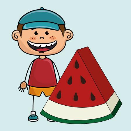 kid boy watermelon fruit vector illustration graphic