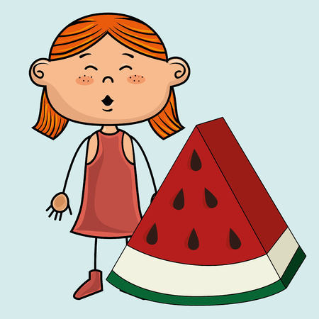 eyes are closed: kid girl watermelon fruit vector illustration graphic