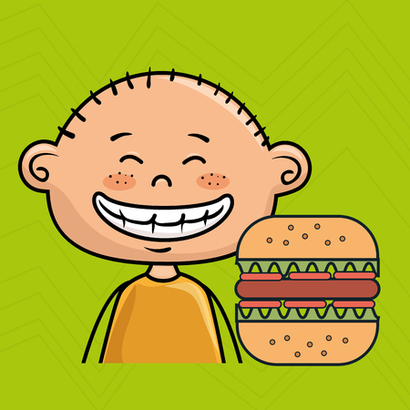 boy burger fast food vector illustration graphic