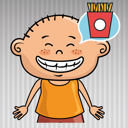 hungry kid: kid french fries icon vector illustration graphic Illustration