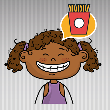 curly tail: girl kid french fries icon vector illustration graphic
