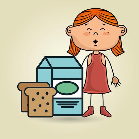 hungry kid: girl milk bread food vector illustration graphic Illustration