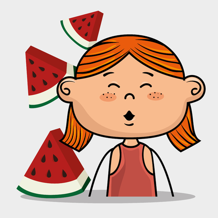 eyes are closed: girl kid fruit food vector illustration graphic